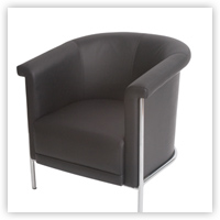Optimum Round Back Black Leather Tub Chair